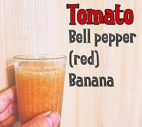 水溶性食物繊維とオリゴ糖が豊富な、赤パプリカとトマトのスムージー