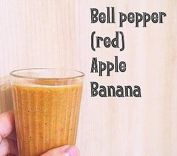 赤パプリカとバナナとりんごのスムージー