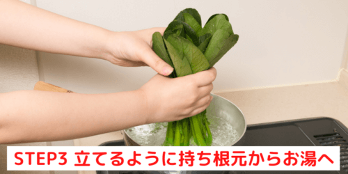スムージーに使う小松菜の栄養価を極力下げずに茹でる方法