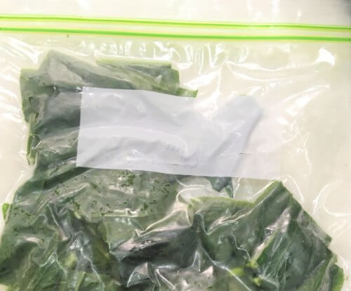 冷凍した小松菜が入ったジッパーをそのまま常温で解凍する